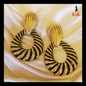 GOLD & BLACK DOOR KNOCKER ROPE HOOP EARRINGS